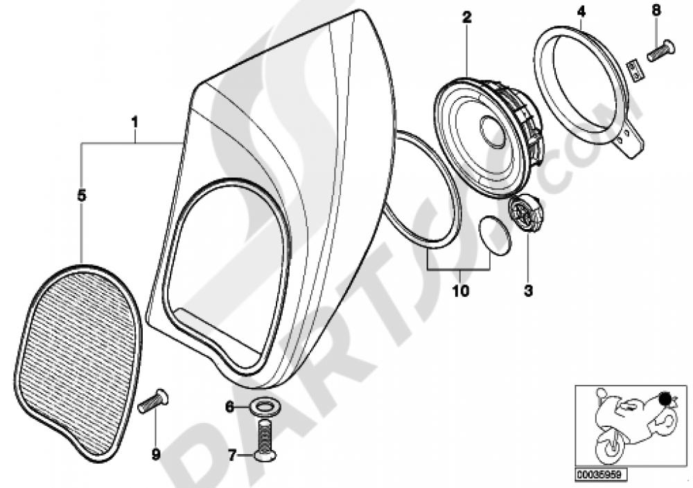 Loudspeaker Rear Bmw K1200lt 2005 2009 89v3