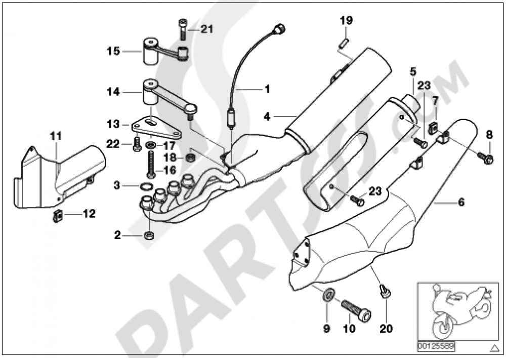 Exhaust System Parts With Mounts Bmw K1200lt 1999 2004