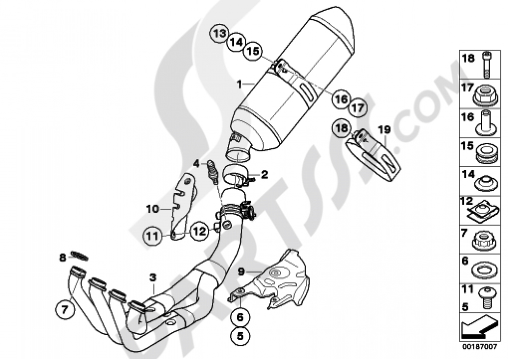 EXHAUST SYSTEM PARTS WITH MOUNTS Bmw K1300S K1300S (K40)