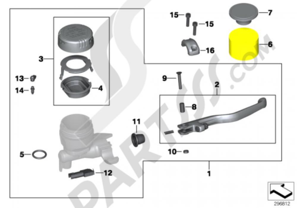 HANDBRAKE ASSEMBLY HANDLEBAR CLAMP M5 Bmw K1300S K1300S (K40)