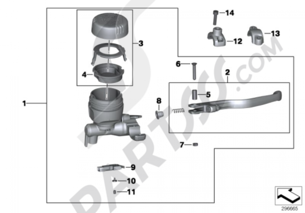 HANDBRAKE ASSEMBLY HANDLEBAR CLAMP M6 Bmw K1300S K1300S (K40)