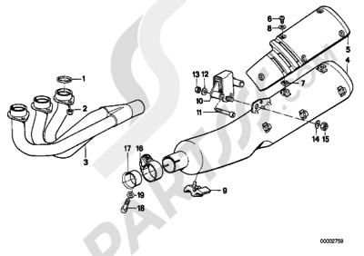 Bmw K75 K75 (K569) EXHAUST SYSTEM