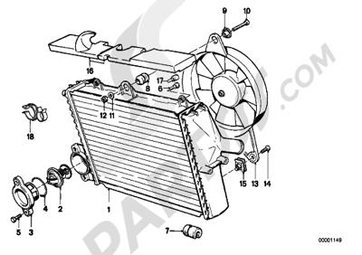 Bmw K75 K75 (K569) RADIATOR - THERMOSTATFAN