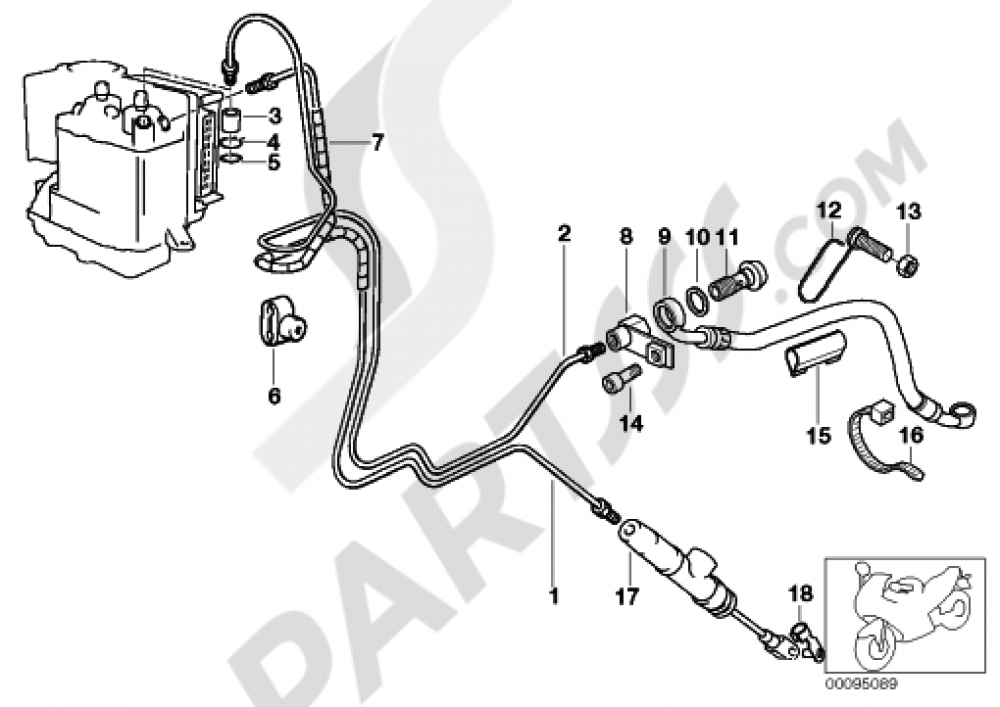 Brake Line  Integral Abs  Rear Bmw R1150rt R1150rt  R22