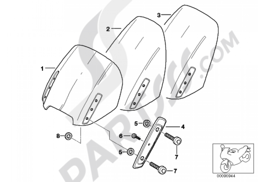 Windshield Mounted Parts Bmw R1150rt R1150rt R22