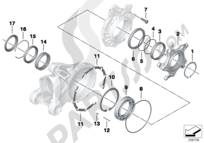 Bmw R1200GS R1200GS 2005-2007 (K25) BEARING, RING GEAR COVER WITH VENT