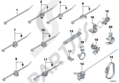 Bmw R1200GS R1200GS 2005-2007 (K25) CABLE STRAP, HOSECABLE CLIP