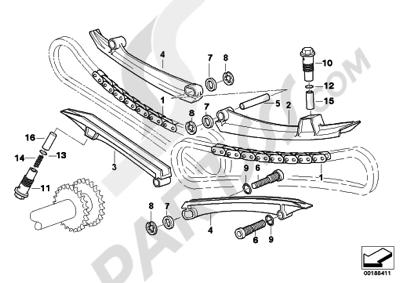 Bmw R1200GS R1200GS 2005-2007 (K25) TIMING-VALVE TRAIN-TIMING CHAINCAMSHAFT