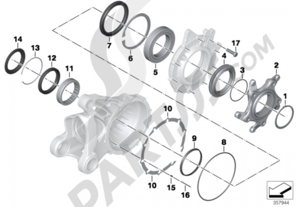 BEARINGS, RING GEAR, INTEGRAL ABS 1 Bmw R1200GS R1200GS 2005-2007 (K25)