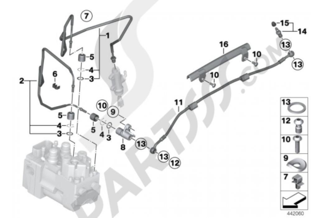 BRAKE LINE, REAR, I-ABS GENERATION 1 Bmw R1200GS R1200GS 2005-2007 (K25)
