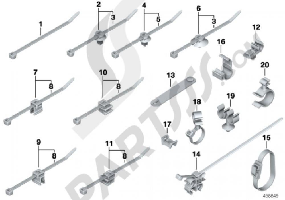 CABLE STRAP, HOSECABLE CLIP Bmw R1200GS R1200GS 2005-2007 (K25)