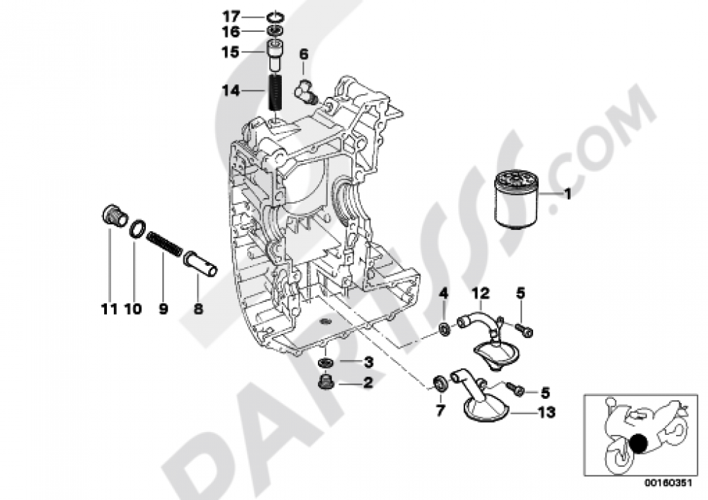 LUBRICATION SYSTEM-OIL FILTER Bmw R1200GS R1200GS 2005-2007 (K25)