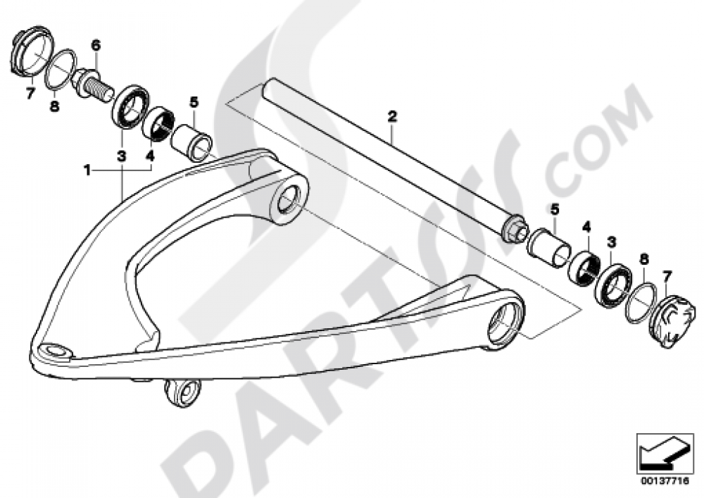 TRAILING ARM Bmw R1200GS R1200GS 2005-2007 (K25)