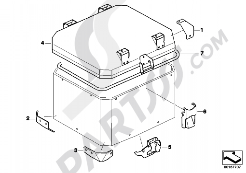 Single Parts For Aluminum Top Case BMW R1200gs Adventure 20062007 K255: BMW Motorcycle 2006 R1200gs Wiring Diagram At Hrqsolutions.co