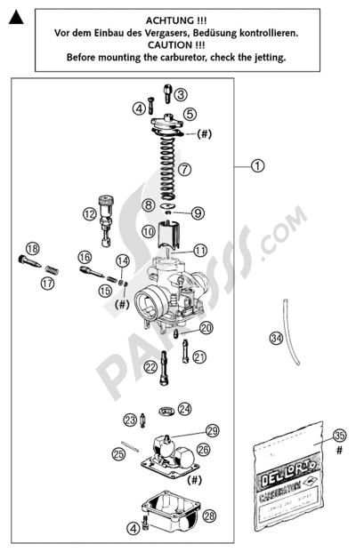 KTM 50 SX PRO SENIOR LC 2003 EU Dissassembly sheet  Purchase