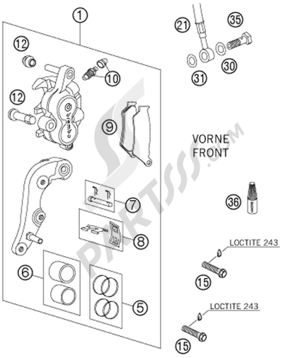 KTM 125 SX 2015 EU Dissassembly sheet  Purchase genuine spare parts