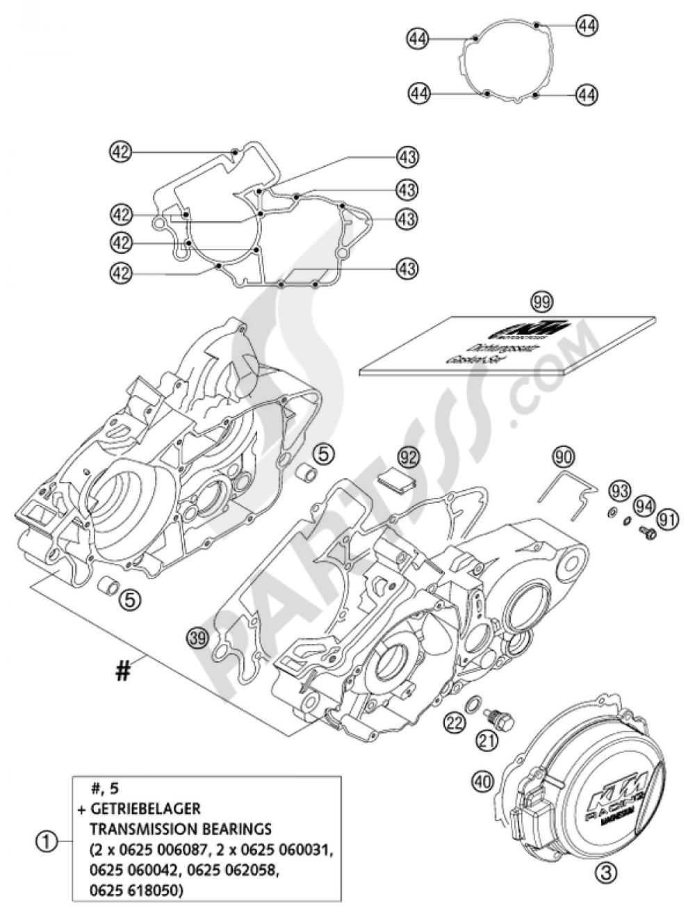 ENGINE CASE 125/200 2002 KTM 125 SX 2002 EUPartsss