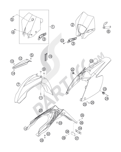 Ktm 200 Exc 2006 Eu Dissassembly Sheet Purchase Genuine Spare Parts