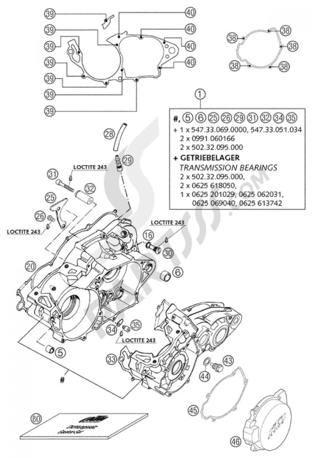 Engine Case 250 300 380 2002 Ktm Exc Six Days Eu Diagram