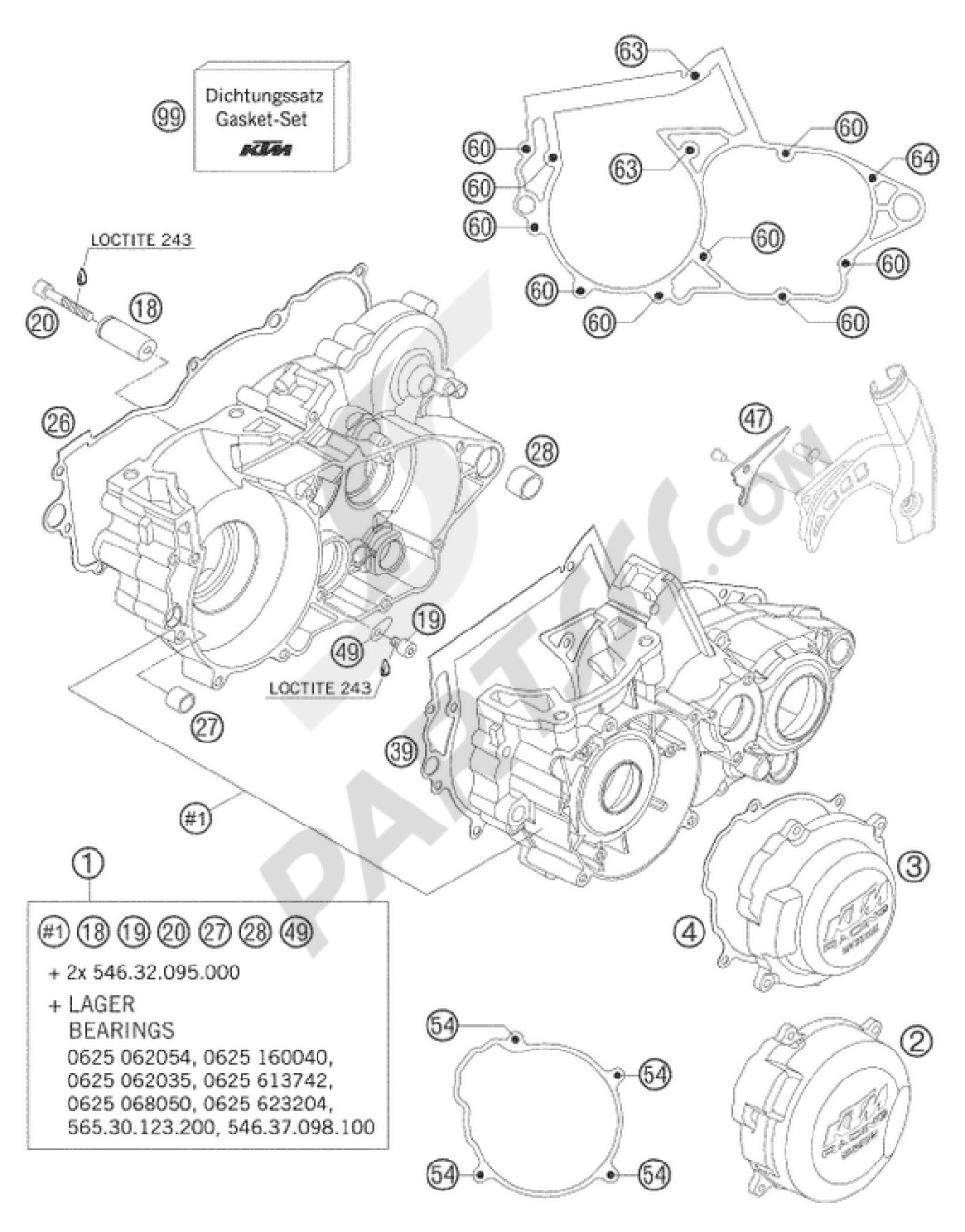 engine case 250  300 ktm 250 exc six