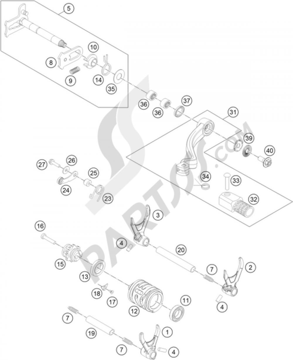 Shifting Mechanism Ktm 350 Exc F 2012 Eu Engine Diagram