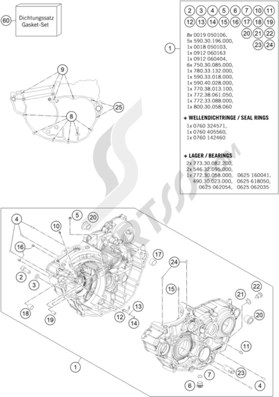 engine case  ktm 350