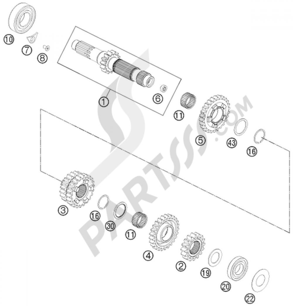 transmission i - main shaft ktm 350 exc-f six-days 2016 eu  honda 300 wiring  diagram 1997