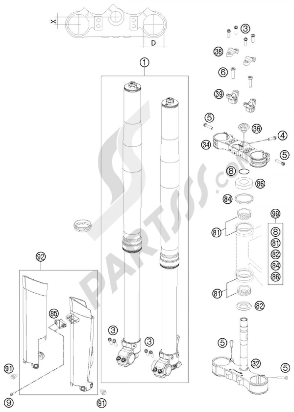 Front Fork Triple Clamp Ktm 450 Exc Factory Edit 2011 Eu Wiring Diagram