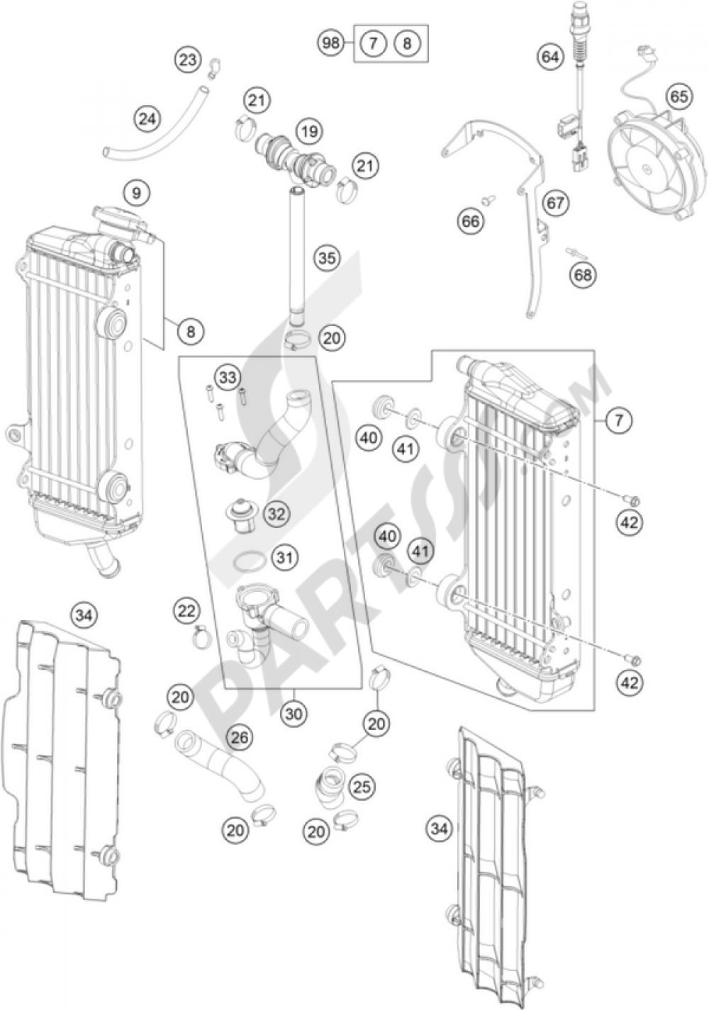 Cooling System Ktm 450 Exc 2009 Eu Wiring Diagram