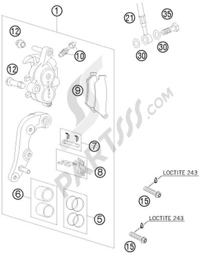 KTM 450 EXC-R SIX-DAYS 2008 EU BRAKE CALIPER FRONT