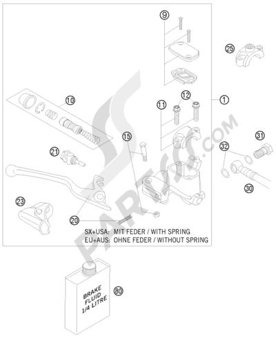 KTM 450 EXC-R SIX-DAYS 2008 EU HAND BRAKE CYLINDER