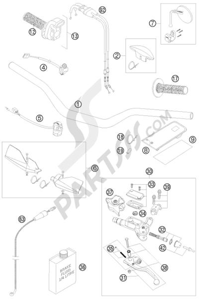 KTM 450 EXC-R SIX-DAYS 2008 EU HANDLEBAR, CONTROLS