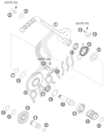 KTM 450 EXC-R SIX-DAYS 2008 EU KICK STARTER