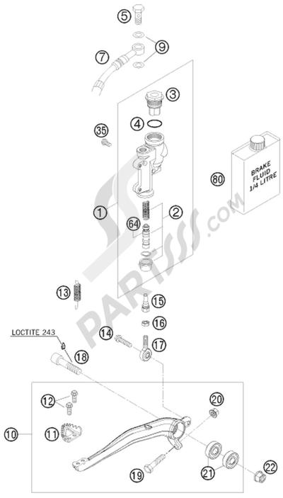 KTM 450 EXC-R SIX-DAYS 2008 EU REAR BRAKE CONTROL