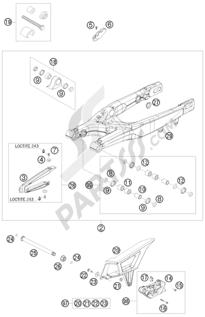 KTM 450 EXC-R SIX-DAYS 2008 EU SWING ARM
