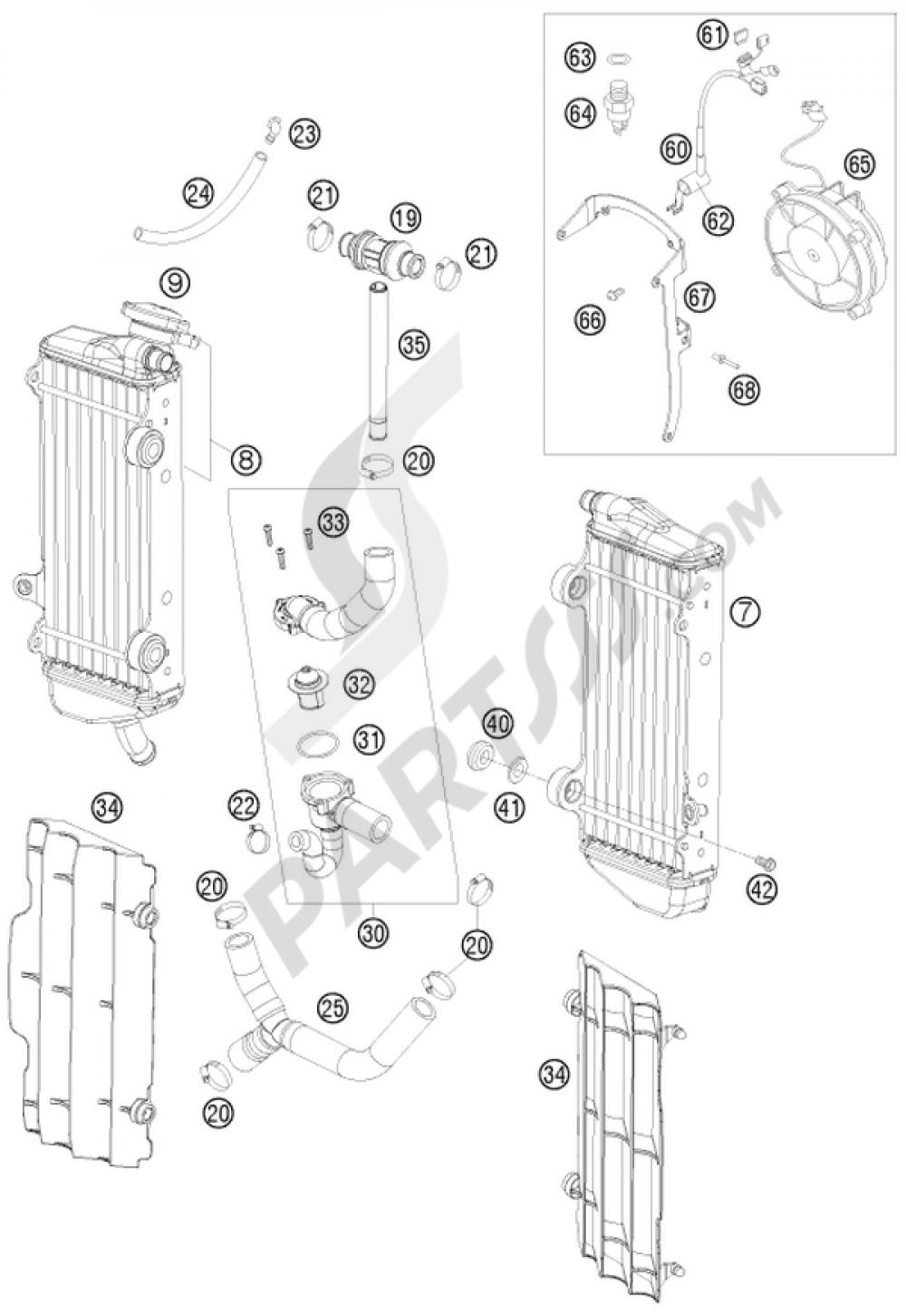 Cooling System Ktm 450 Exc R Six Days 2008 Eu Engine Diagram