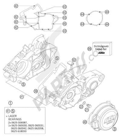 KTM 125 EXC 2008 EU ENGINE CASE