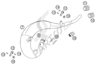 KTM 125 EXC 2008 EU EXHAUST SYSTEM
