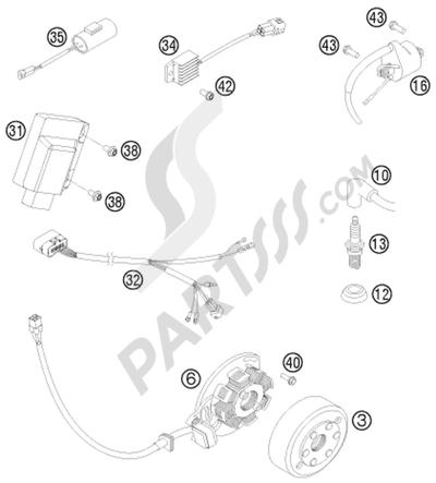KTM 125 EXC 2008 EU IGNITION SYSTEM
