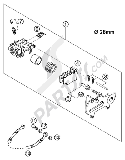 brake caliper rear brembo 2001  ktm 125 exc six-days