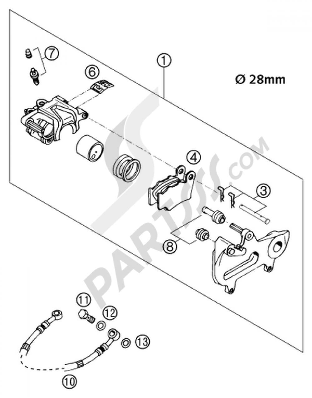 Brake Caliper Rear Brembo 2001 Ktm 125 Exc Six Days 2002 Eu Wiring Diagram 200