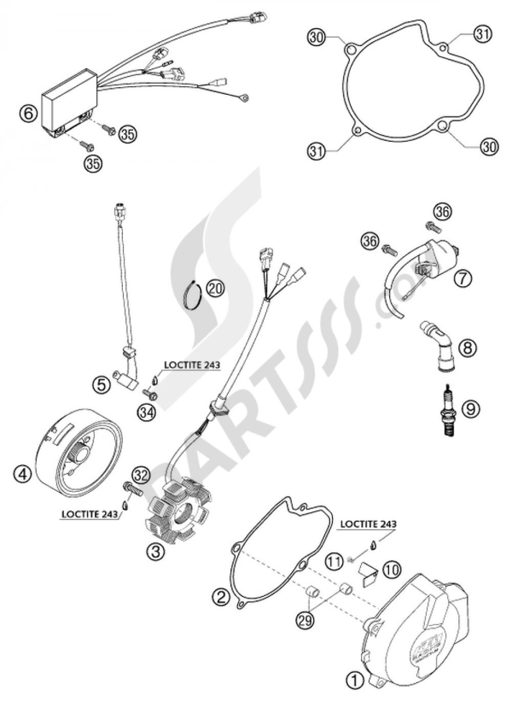 Bujía Tapa para 2001 KTM 520 Exc Racing