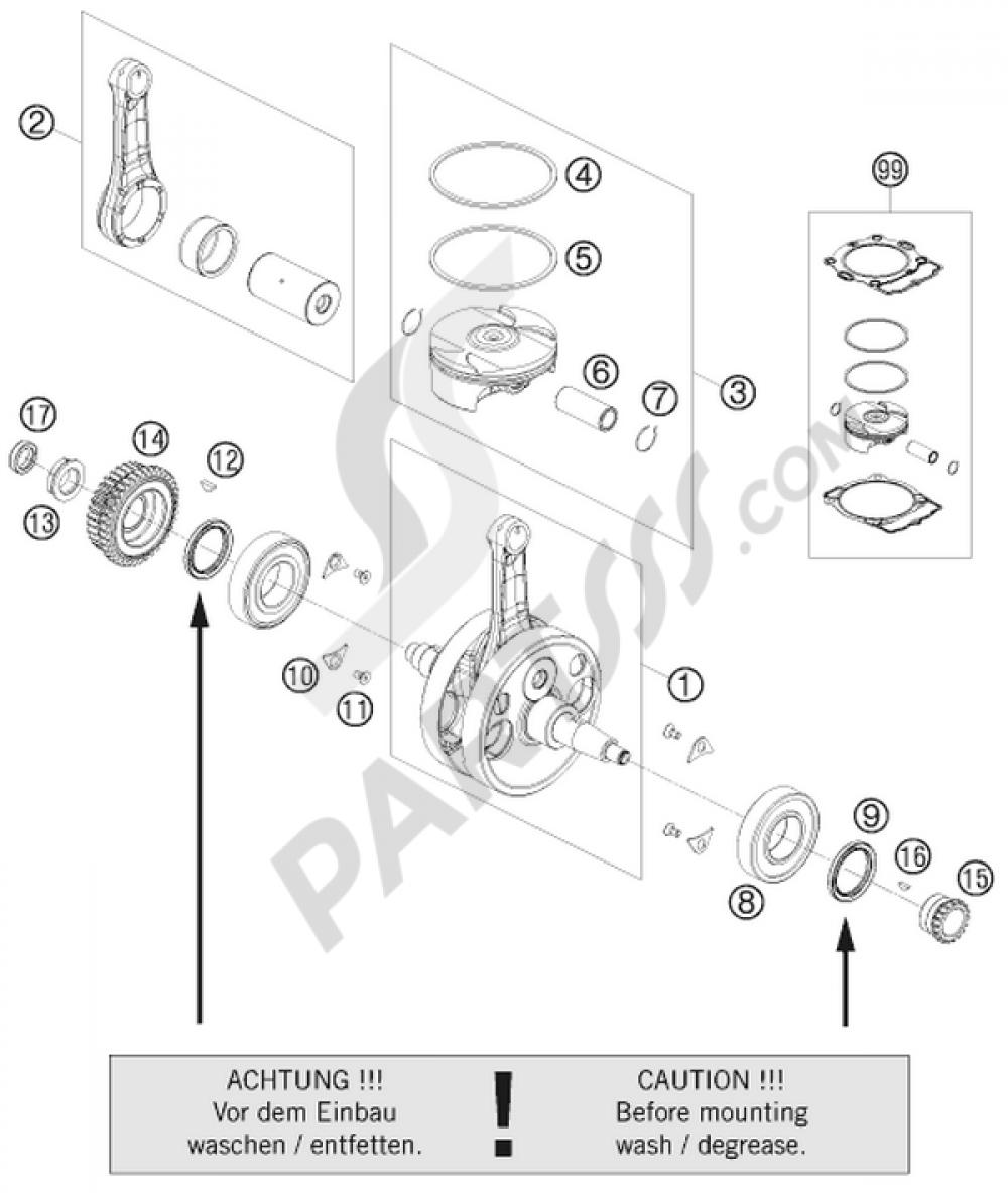 Crankshaft Piston Ktm 530 Exc R Six Days 2008 Eu Engine Diagram