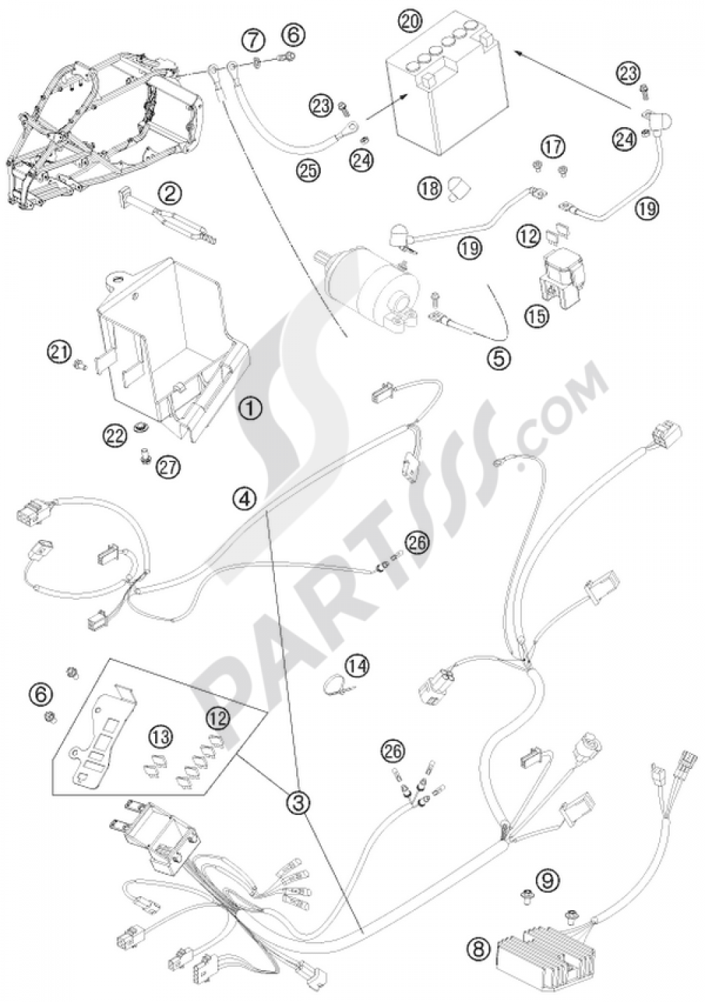 wiring harness ktm 525 xc atv 2012 eu