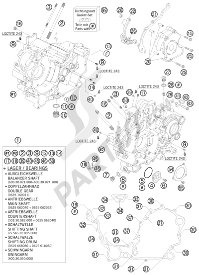 ktm 990 adventure s 2008 eu dissassembly sheet  purchase