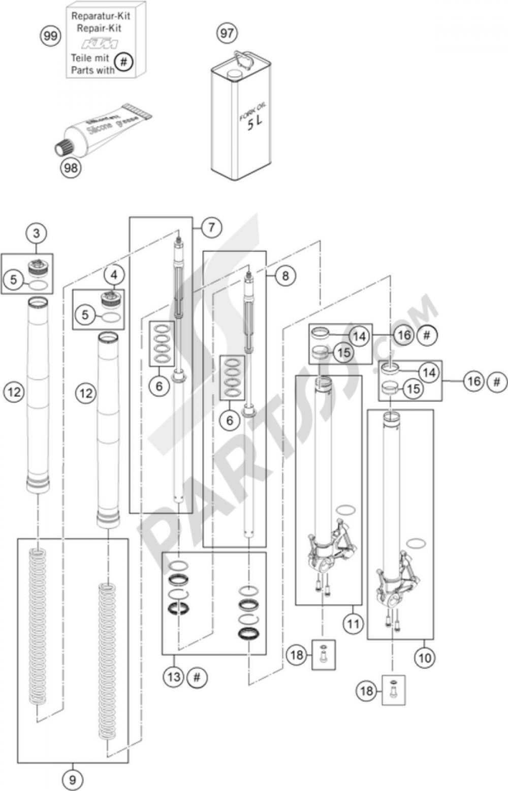 Front Fork Disassembled Ktm 1190 Adventure R Abs 2016 Eu Wiring Diagram