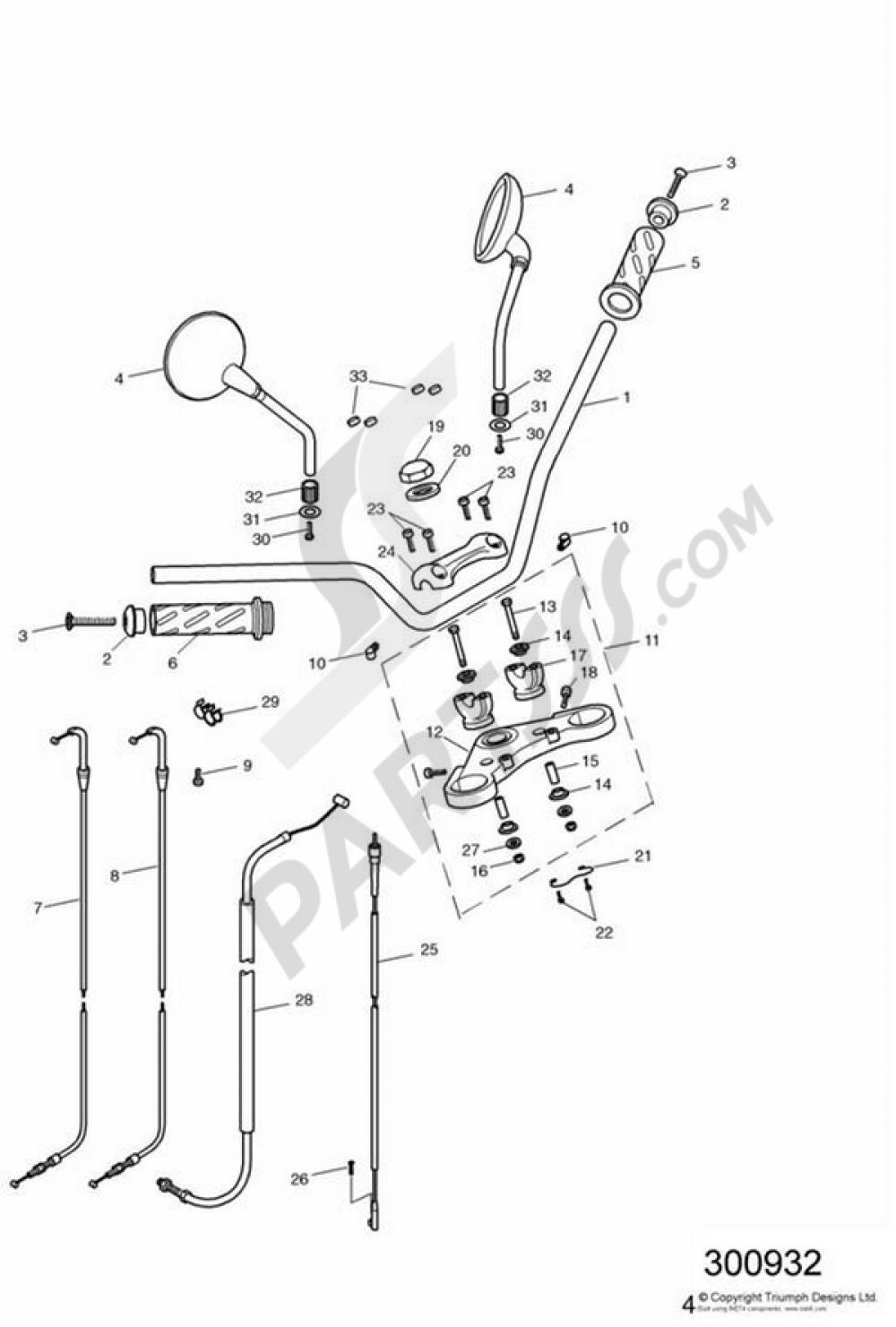 Handlebars, Top Yoke, Cables & Mirrors Triumph BONNEVILLE T100 ... on victory vegas wiring diagram, triumph t100 spark plug, bmw r100 wiring diagram, triumph t100 tools, benelli 900 sei wiring diagram, toyota t100 wiring diagram, harley sportster wiring diagram, triumph t100 motor, triumph t100 seats,