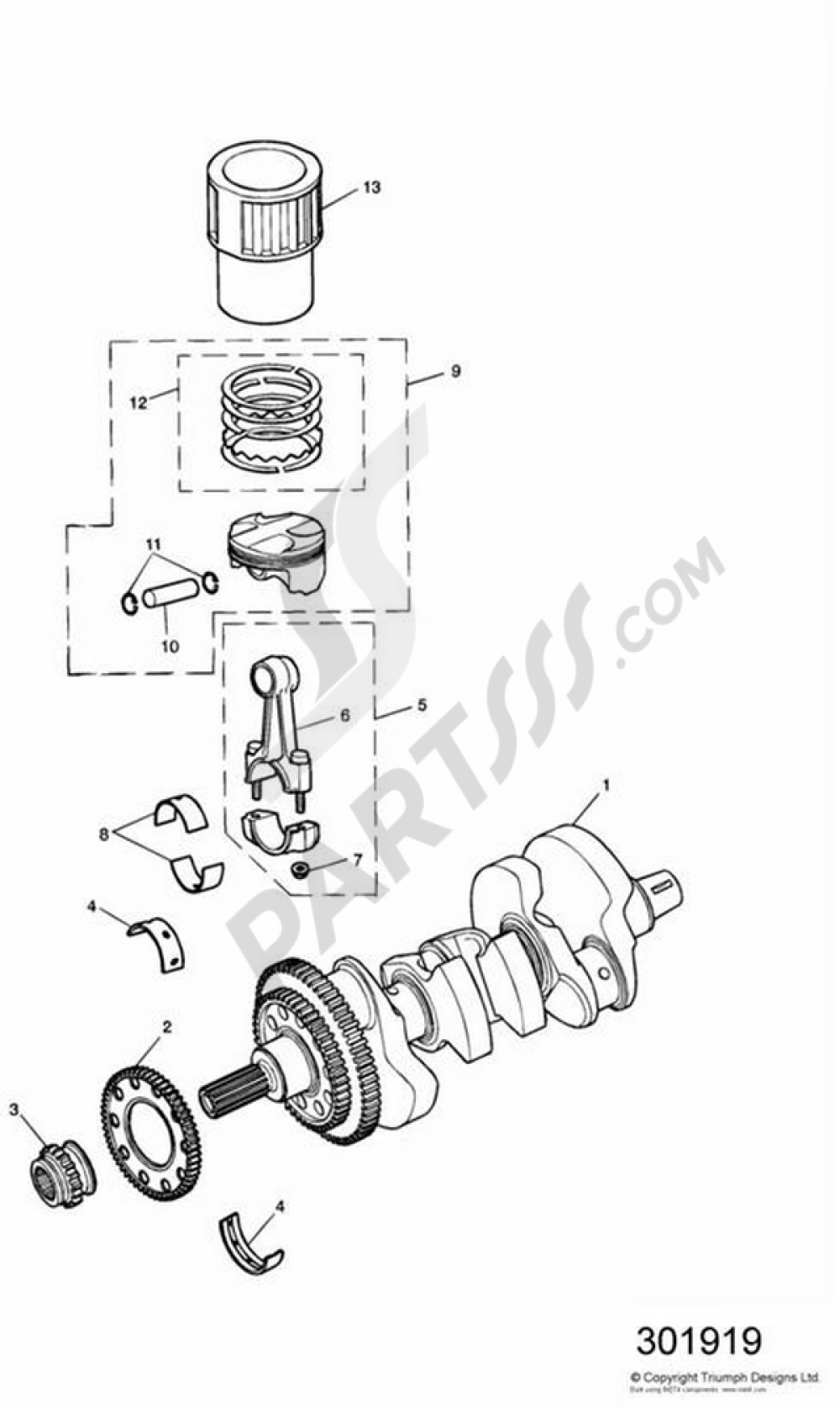 Triumph Daytona T595 Wiring Diagram Library 2002 Honda Shadow 1100 Crankshaft Conn Rod Pistons And Liners 955i Bastidor Hasta 132513