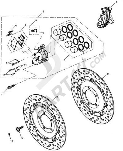 Triumph ROCKET III CLASSIC & ROADSTER Front Brake Caliper & Discs