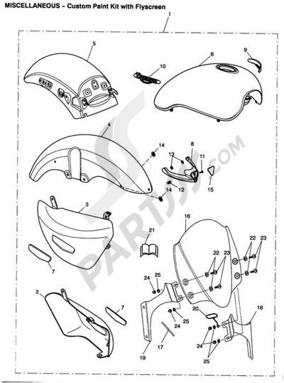 Triumph ROCKET III CLASSIC & ROADSTER Paint Kit/Flyscreen